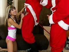 Super horny Doris Ivy getting gangbanged by Santas