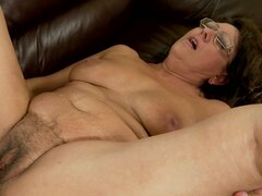 Old lady in glasses nailed by young cock