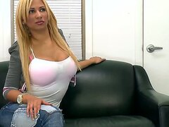 Blonde babe Paris Sweet with tanned body goes on the interview...