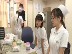Three Japanese nurses enjoy sucking one dick indoors