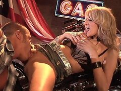 Blonde Cowgirl Rides A Biker's Big Fat Cock