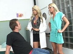 Lucky Patient Fucked By Super Hot Blonde Nurse and Doctor