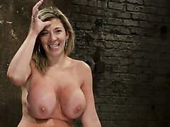 Blonde milf with pretty big tits gets abused and banged hard
