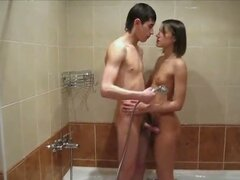 Horny teen couple fucking in shower