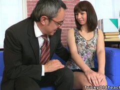 Teen whores herself out to service an older gentleman's cock