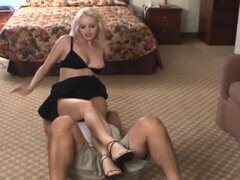 Dominant blonde smothers him in hotel room