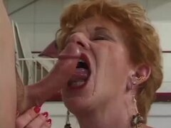 Redhead granny Diane Richards blows and gets fucked in the kitchen