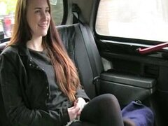 Amateur redhead student sex in a taxi