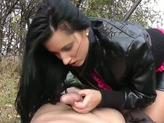 Real sizzling hot brunette slut pounded hard in outdoor loving