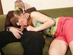 Seductive blonde coed earns good marks pleasing her extremely perverted old teacher in all imaginable ways