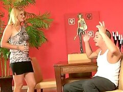 Gorgeous blond milf seduces her son in law