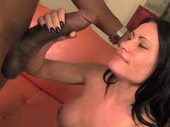 Horny brunette goes black in hardcore