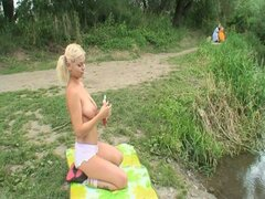 Horny blonde teen babe joins granny and grandpa outdoor fuck