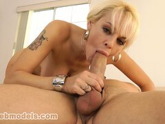 Sandy wraps her lips and hands all over that cock and slowly drives it to orgasm