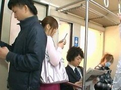 A cute Japanese babe is taken advantage of as she travels home on a public bus