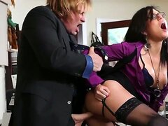 Brunette secretary with large tits and sexy legs Eva Angelina really has fun in getting a hardcore office sex from her assistant Evan Stone on the desk during a lunch break