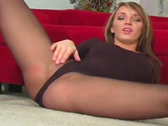 Blonde beauty teases with her pantyhose
