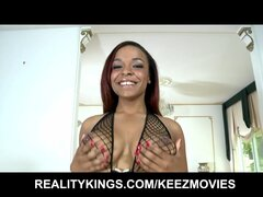 SEXY pierced Ebony girl flaunts her big-natural tits