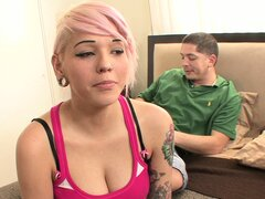 Tight blondie Christina shows off her perfect titties on cam for the first time