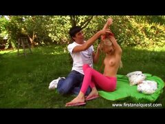 Super hot blonde beauty with adorable titties and little ass loses her  anal virginity in the park