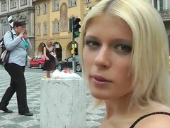 Blonde with perfect body gets naked in public