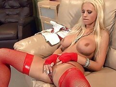 Busty blonde babe in red fishnet lingerie fucking