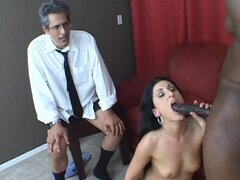 Husband beats his meat while wife Luscious Lopez...