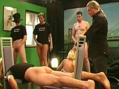 Backstage scene with cock-sucking blonde
