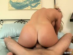Hot blonde babe with a fine ass rides and gets nailed doggy style
