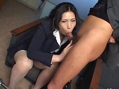 Stunning Asian Secretary Gives a Hot Blowjob