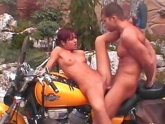 Short Haired Babe Fucks Her Boyfriend Over His Motorbike