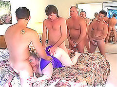 Bouncy fat ass girl gets a fucking line of cocks