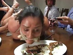 Serious BDSM Action And Public Sex With Horny Brunette Over Dinner