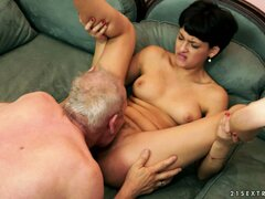Barely legal brunette with short hair gets laid with an old fart