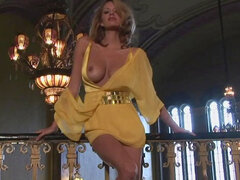 Lovely yellow dress on flirtatious girl