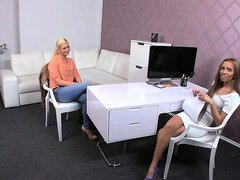 Blonde amateur playing with female boss