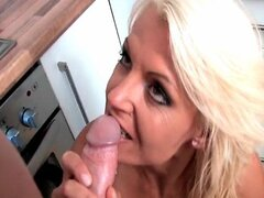 Blonde milf slut gets a big dick in her mouth