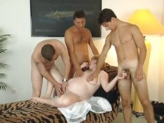 Yummy pregnant blonde MILF gets three men to please her holes