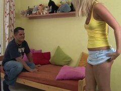 Young blonde fighting for her panties
