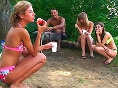 Sexy Teen Babes Camping With Some Friends