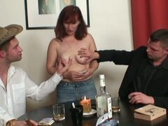Threesome after naked poker with a granny