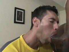 Big black cock sucked by a skinny shaved asian