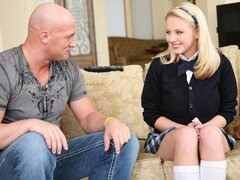 An adorable blonde chick in her school uniform tries her neighbor's cock and loves it