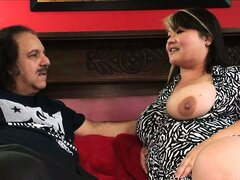 Ron Jeremy gets a fat mom to fuck and he drills her hairy pussy