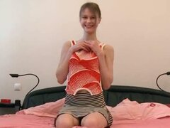 Petite russian babysitter stripping