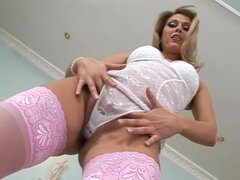 Sweet Claudia toys her wet pussy with big glass dildo