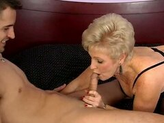 Blonde mature whore Mrs Jewell gives awesome blowjob