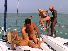 Interracial Foursome with Blondes Kyra and Sheena Pearl on a Yacht