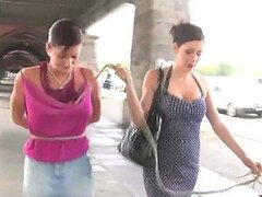 Brunette Babe Takes A Bitch Outside To Be Publicly Pounded