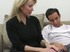 Janine was having trouble driving her husbands car because its a stick. We offered to give her a quick lesson on stick management back at our place. It wasn't long before this hot MILF was working two sticks at once and doing a great job! We sent this MIL